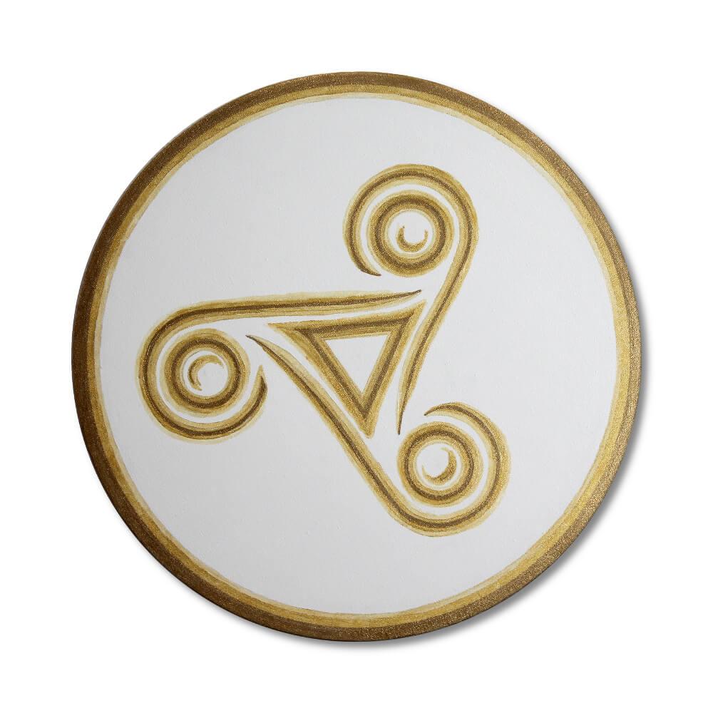 "Leinwandbild keltische Triskele in Gold ""Trinity"" ab Größe 30cm – handgemalt"