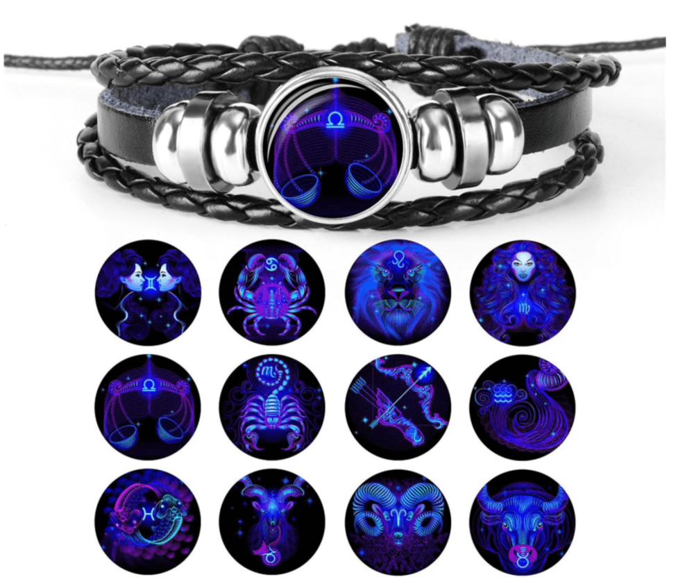 Leder Armband Sternzeichen - leuchtet im dunkeln - 12 Sternzeichen verfügbar